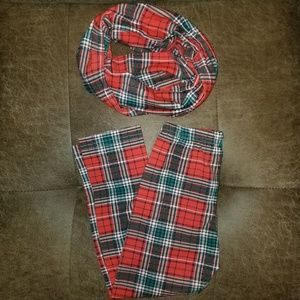 Other - Plaid leggings with a matching infinity scarf